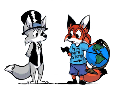 Picture of two foxes, one holding a globe wearing a t-shirt saying I'm with stupid.
